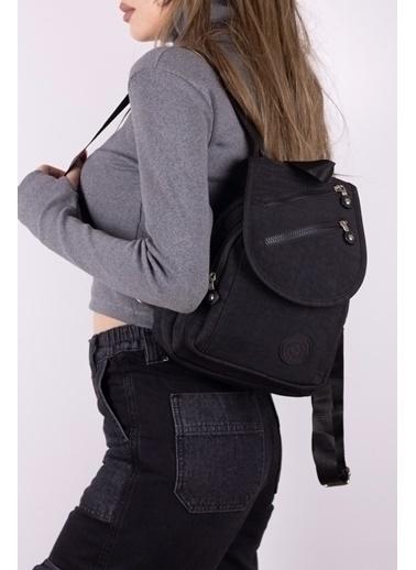 Tonny Black Tonny Black Tbc111 Badi Bag Kullanışlı Çok Gözlü Logolu Klinkır Kadın Sırt Çanta Siyah